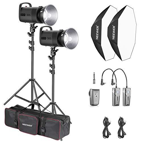 Neewer 600W Photo Studio Strobe Flash Lighting Kit: (2)S101 300W Monolight with Bowens Mount, (2)Light Stand, (2)Softbox, (1)RT-16 Transmitter, (2)Receiver, (1)Large Bag for Studio Video Shooting