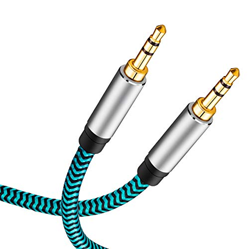 Aux Cable 15ft,Hftywy 3.5mm Male to Male Stereo Aux Cord 3.5mm Auxiliary Audio Cable Nylon Braided Male to Male Stereo Audio Cables Compatible Car/Home Stereos,Speaker,iPhone iPod iPad,Headphones