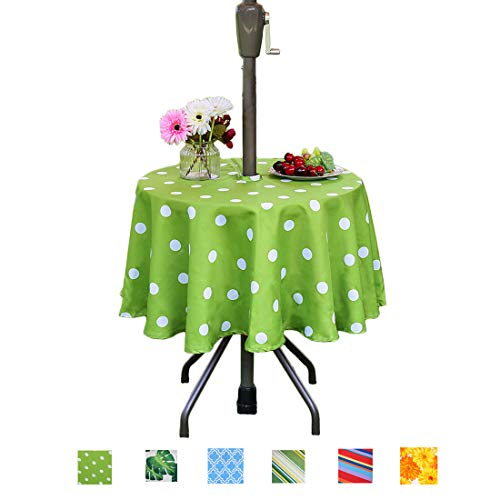 Eternal Beauty Polyester Outdoor Tablecloth Round Spillproof with Umbrella Hole Zipper for Spring Summer Patio Picnic BBQ (Green Polka Dot, 52inch)