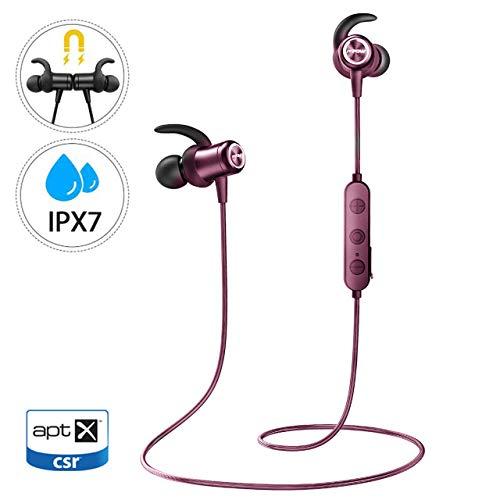 Mpow S10 IPX7 - Cuffie bluetooth in ear, impermeabili, per sport, 8-9 ore, tempo di gioco/tre eq/microfono, jogging/corsa/fitness, auricolari magnetic