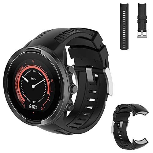 AUTOECHO Auto Brazalete Echo para Suunto 9Baro Straps Multi Sport Smartwatch con Resistente kratzfestem para Pulsera de Silicona para Hombre Mujer (3Colores), Color Schwarz Black