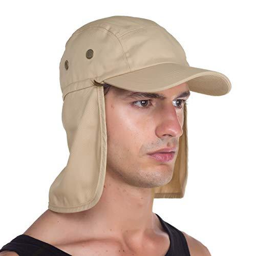 Top Level Fishing Sun Cap - Ear Neck Flap Hat, Khaki