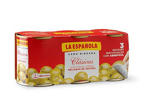 La Española, Clásicas Groene olijven gevuld met ansjovis, 3 x 120 g