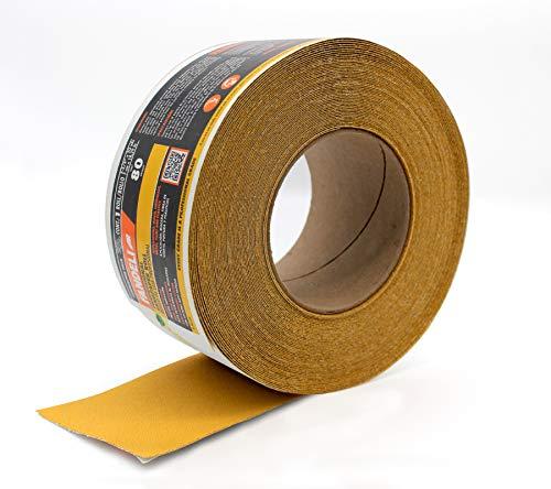 Fandeli sandpaper roll, 80 grit abrasive longboard, PSA aluminum oxide premium paper, 20 yards, 2-3/4 inch, self adhesive continuous sheet, 36550