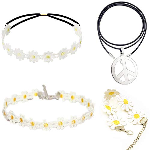 PPX Hippie Kostüm Set - 60er Jahre Friedenszeichen Halskette Sonnenblume Krone Haarband, Armband und Halskette 60er Jahre Hippie Dressing Zubehörset