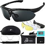 Sportbrillen Fahrrad Brillen Damen Herren Polarisierte UV400 Schutz mit 5 Wechselgläser Radbrillen für Outdooraktivitäten wie Radfahren Klettern Autofahren Laufen Angeln Golf Unisex (schwarz)