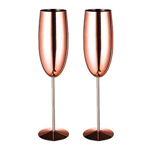 Vidrio de champán 2 Piezas Oro Rosa champán Vidrio un Conjunto de lujosas Gafas de champán Indestructible de Cristal de champán sin BPA, 270 ml (Color de Rosa (Oro) (Color : Gold)