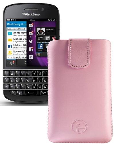 Original Favory ® Etui Tasche für / BlackBerry Q5 / Leder Etui Handytasche Ledertasche Schutzhülle Hülle Hülle *Lasche mit Rückzugfunktion* In Rosa