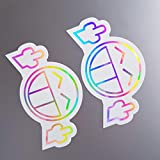 folien-zentrum 2X Fuck You Smiley Weiß Hologramm Oilslick Rainbow Flip Flop Aufkleber Metallic Effekt Shocker Auto JDM Tuning OEM Dub Decal Sticker Illest Dapper Oldschool