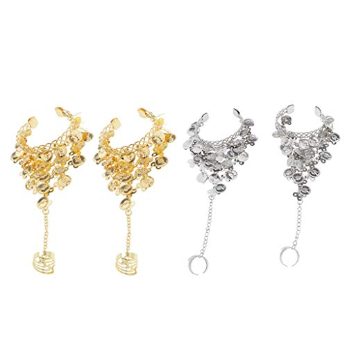 P Prettyia 4X Indien Bauchtanz Baumeln Münzen Fringe Armbänder Ring Gypsy Manschette Armreif