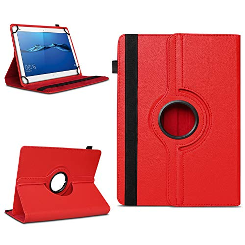 NAmobile Schutzhülle kompatibel für Huawei MediaPad T1 T2 T3 T5 10 Tablet Hülle Tasche Schutzhülle Hülle 360 Drehbar, Farben:Rot
