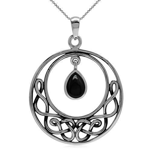 Silvershake Genuine Black Onyx 925 Sterling Silver Celtic Knot Drop Dangle Pendant with 18 Inch Chain Necklace