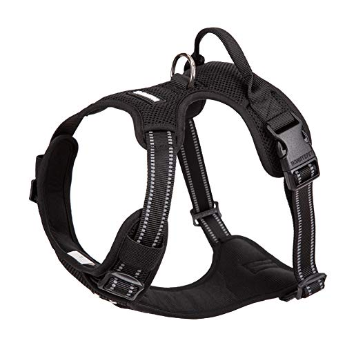 Chai's Choice New Soft Mesh No-Pull Dog Harness. Adjustable Pet Harness Vest. 3M Reflective Oxford Fabric. Small, Medium, Large Dogs (Large, Black)