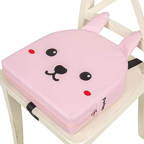 Forips Booster Seat for Dining Table 13.4' Waterproof Heightening Increasing Cushion Portable 3-Way Buckle Thick Chair Pad for Baby Toddler Kids Child (Pink)