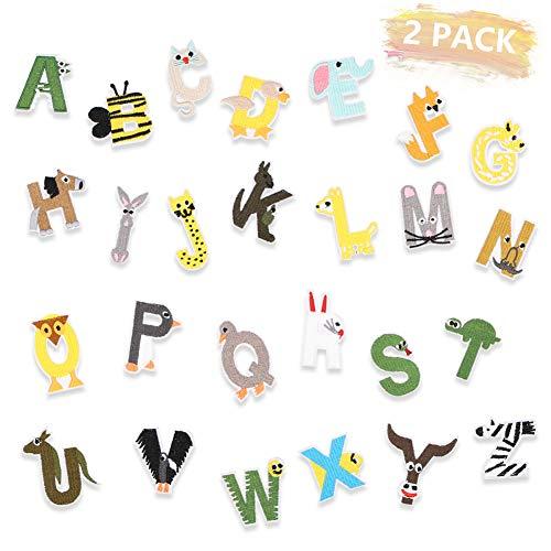 Juego de 2 parches con letras del alfabeto para planchar con diseño de animales, coloridos, letras del alfabeto para vaqueros, chaquetas, camiseta, ropa de niños, bolsa, gorras, manualidades, costura