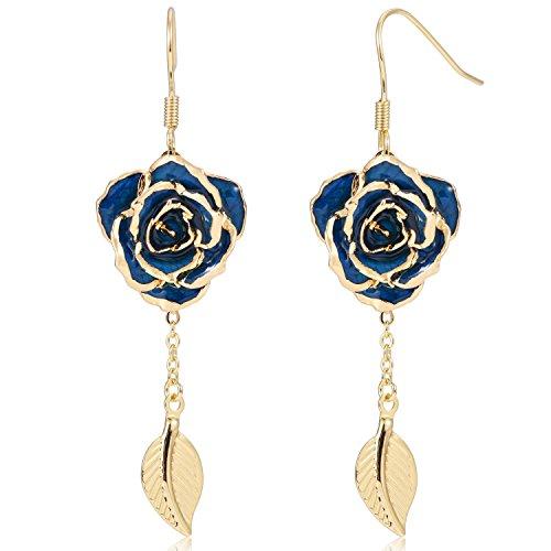 Dames 24K gouden oorbellen rozen bloem met hanger ringen voor u van verse rozen, Last Forever Mother/Thanksgiving/Kerstmis (blauw) EH002
