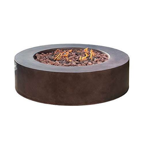 Royal Garden 42-inch Round Outdoor Propane Fire Pit Table Dark Brown 55,000 BTU Stainless Steel Burner Patio Heater with Lava Rocks and Cover