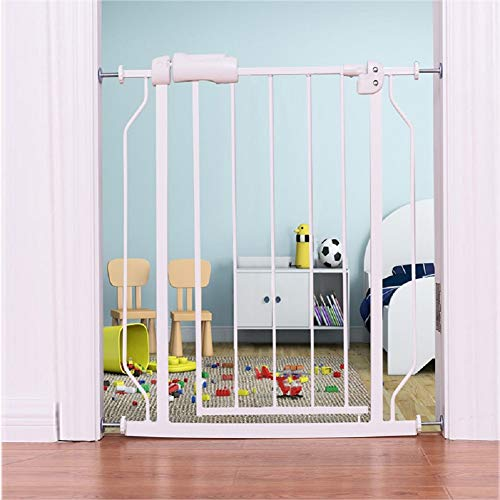 ALLAIBB Narrow Walk Through Baby Gate Auto Close Tension White Metal Child Pet Safety Gates with Pressure Mount for Stairs,Doorways and Baniste 24.2-27.56 in