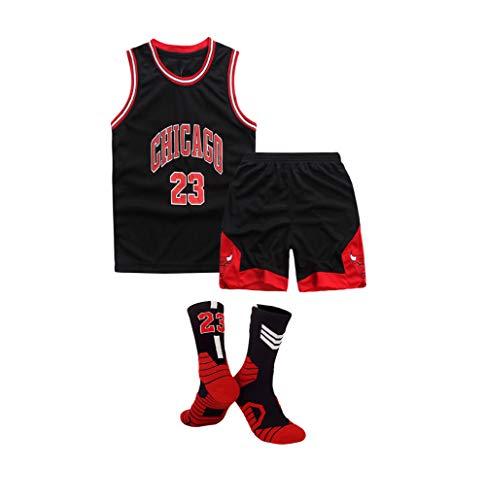Kinder-Basketballtrikot, Chicago Bulls Nr. 23 Michael Jordan-Basketballuniform, kühles und atmungsaktives Material, Rundhals-Oberteil/Shorts und Socken × 1, XS-XL-Black-L