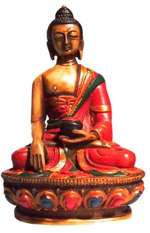 mytibetshop 4' Buddha Statue, Earth Touching Buddha, Hand Painted, for Meditation and Alter