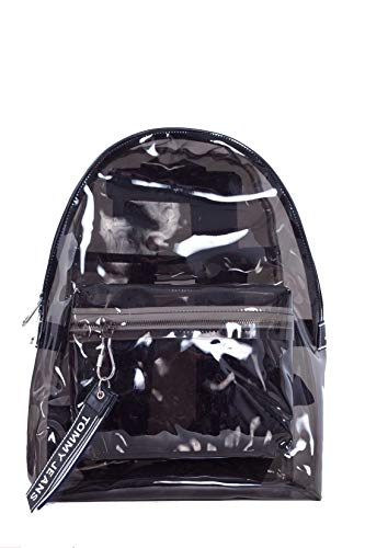 TOMMY JEANS - Black translucent backpack with logo tape