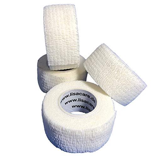 LisaCare Fingerpflaster selbsthaftend - elastisches, wasserfestes, staub- fett- und schmutzabweisendes Pflaster - WEIß - 4 Rollen á 2,5cm x 4,5m