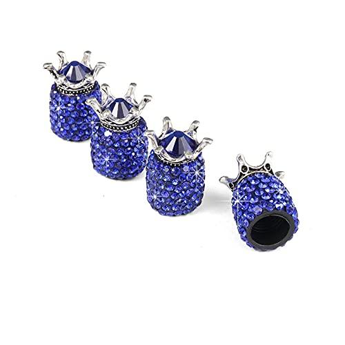 HanGao 4 unids Crown Bling Diamante Cristal Rueda Caps Rhinestone Clay ABS ABS Neumáticos Neumáticos Válvulas Tira Tallo Válvula de AIR CAPS CAPA DE CUBIERTA BLING Bling ( Color : 4pcs dark blue )