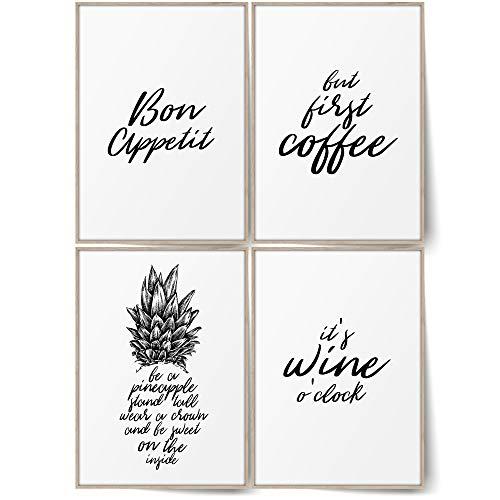 BLCKART Premium Küchen Poster Bilder Set Stilvolle Küche Wandbilder mit Sprüchen Esszimmer Poster Deko (Wine Coffee & Pineapple, A4 (ohne Rahmen))