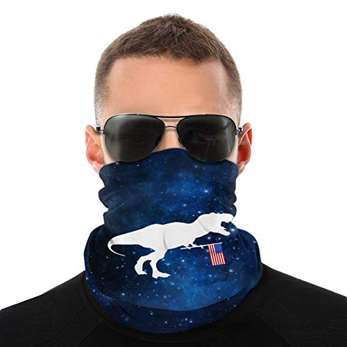 T Rex And American Flag Safety Face Cover Neck Gaiter Bandana Multi Headwear Face Scarf