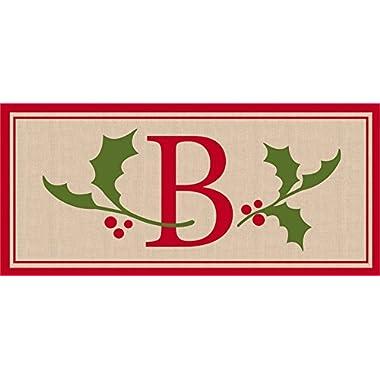 Evergreen Flag 431316B Holly & Berry Letter B Momogram Sassafras Mat