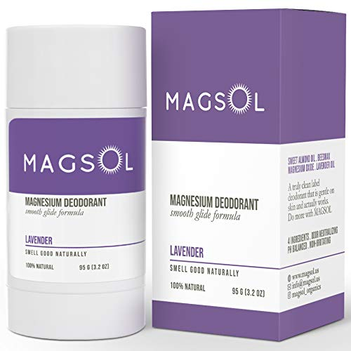 MAGSOL Magnesium Deodorant for Women and Men - 100% Natural Deodorant - Clean Label Only 4 Ingredients - Perfect for Ultra Sensitive Skin - Large 3.2 oz Lasts over 4 Months (Lavender)