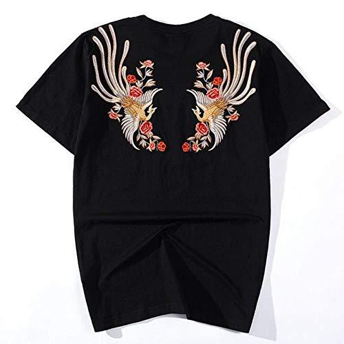Été marée National Nouveau T-Shirt à Manches Courtes Phoenix Industrie Lourde Coton Broderie Style Chinois Sauvages en Vrac de Grande Taille Hommes Black_L Hyococ (Color : Black, Size : 4XL)