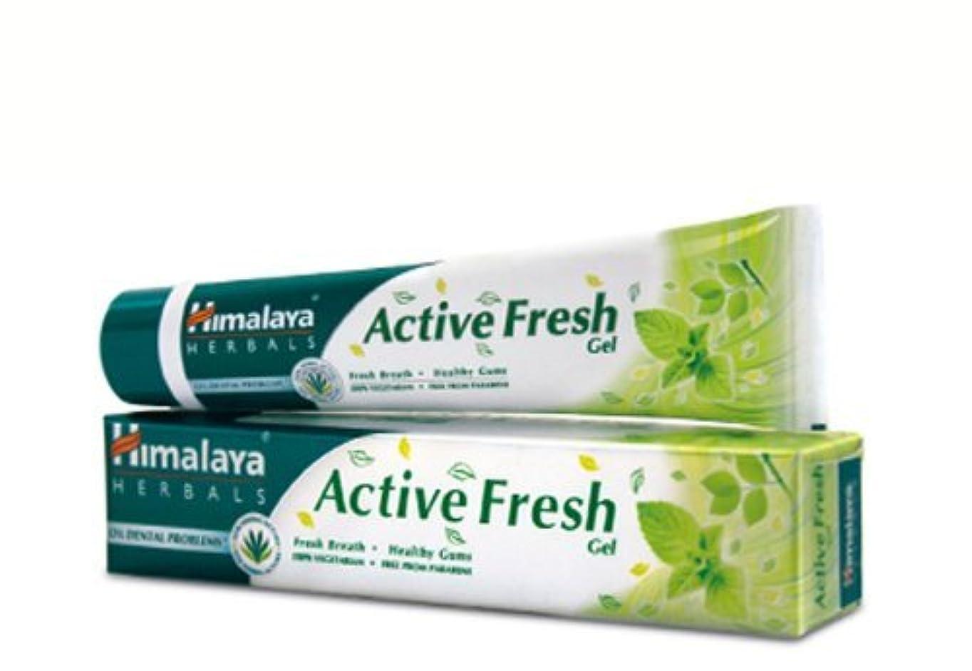 ファウル提供された無声でヒマラヤ トゥースペイスト アクティブ フレッシュ(歯磨き粉)80g Himalaya Active Fresh Toothpaste