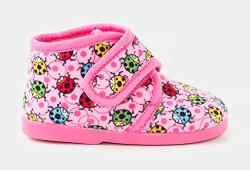 TEX - Zapatillas de Casa para Niños, estilo Bota, Cierre Velcro, Estampado, Rosa, 23