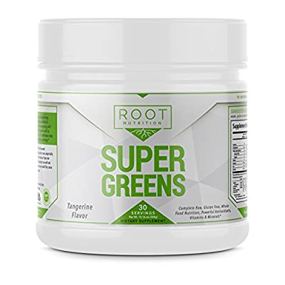 Super Greens Powder Superfood with Spirulina and Wheatgrass - Green Detox Juice - Antioxidant Supplement   30 Servings by Root Nutrition
