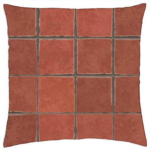 ETGeed Terracotta Tiles Spanish Tile Hand-Made Floor Wall Throw Pillow Covers,Decorative Cushion For Sofa Couch Bed Home,18 x 18 Inch