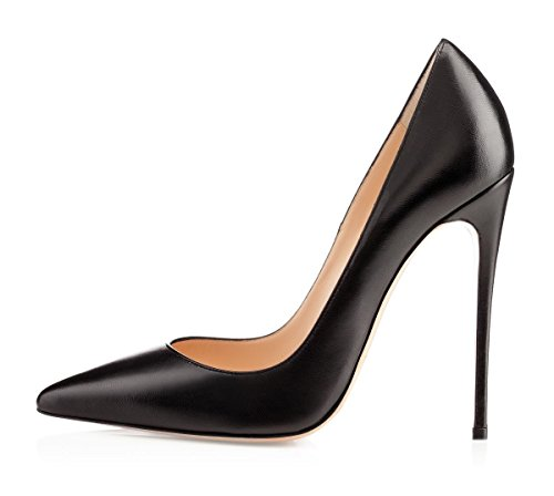 Sammitop Women's Classic Office Dress Pumps Sky High Heel Shoes Pointed Toe Pump Black US11