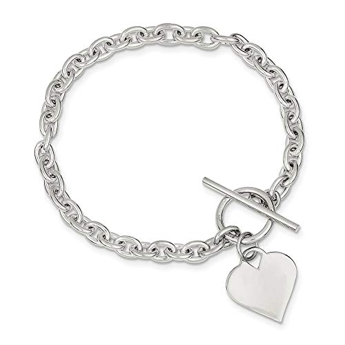 925 Sterling Silver Engraveable Heart Toggle Bracelet 8 Inch Charm Love Fine Jewelry For Women Gifts For Her
