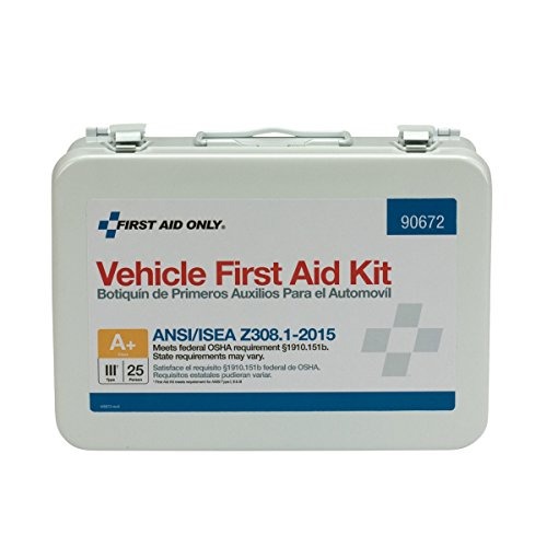 First Aid Only 90672 25 Person ANSI A+, Vehicle First Aid Kit, Metal, Weatherproof