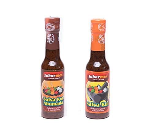 SABORMEX Pack de 2 Salsas Picantes Mexicanas de Chile Habanero: Salsa Kut Ahumada y Salsa Kut Asada (2 Botellas x 148ml)