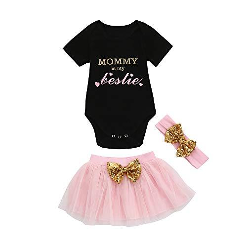 Weant Baby Kleidung Mädchen Outfits Briefdruck Tops + Tutu Röcke Bowknot Mesh Prinzessin Partykleid Sommerkleid Prinzessin Kleid Kinder Kleider Baby Bekleidungssets Neugeborenen Bekleidungset