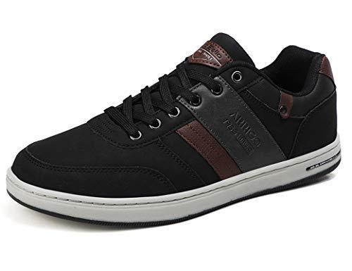 ARRIGO BELLO Zapatos Hombre Zapatillas para Vestir Casual Deportivas Confort PU Cuero Deporte Sneakers Talla 41-46(Negro,45)