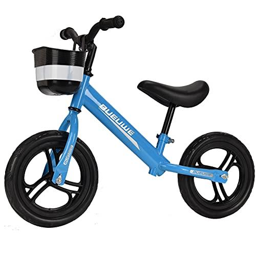 GASLIKE Bicicleta de Equilibrio para niños y niñas de 2 a 6 años, Ruedas de 12 Pulgadas, sillín Regulable de 35 a 45 cm, neumáticos EVA, Canasta de Manillar extraíble,Azul