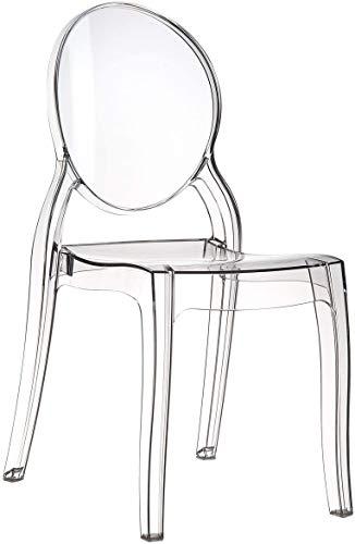 Fashion Commerce FC695 - Sedia in policarbonato trasparente impilabile victoria ghost, Set di 6