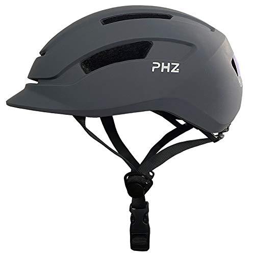 PHZ. Adult Bike Helmet with Rear Light for Urban Commuter Adjustable for Men/Women (Grey, Large)