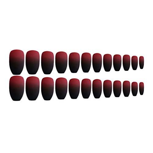 Lurrose 2 Ensembles D'ongles de Cercueil Mat Dégradé Couleur Couverture Complète Courts Faux Ongles Faux Ongles en Gel Ongles en Plastique Conseils Art pour Ballerine Femmes Salon de