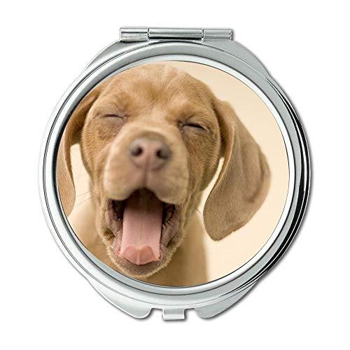 Yanteng Spiegel, Compact Mirror, golden Retriever Welpen Hund Hund hd p, Taschenspiegel, 1 X 2 X Lupe