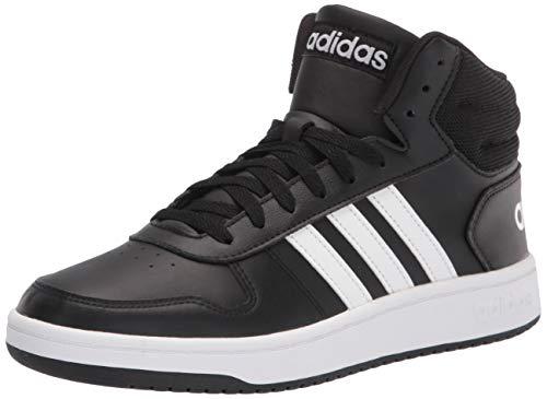 adidas Men's Hoops 2.0 Mid Basketball Shoe, Black/White/White, 10