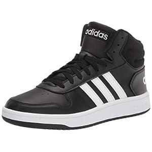 adidas Men's Hoops 2.0 Mid Basketball Shoe, Black/White/White, 11.5