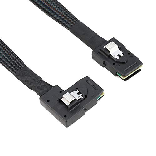 Xiwai SFF-8087 a 8087 - Cable de datos (ángulo recto, 90 grados, micro SAS, 36 pines, 80 cm)